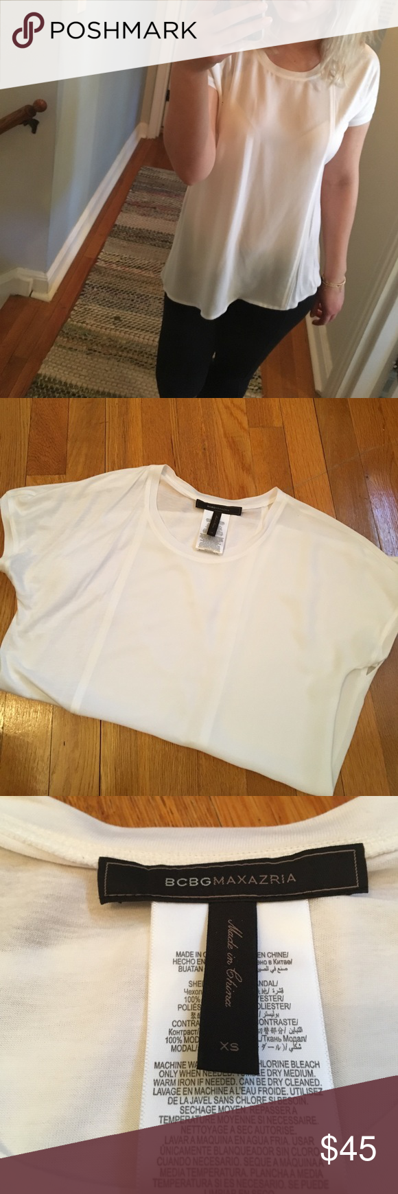 BCBG asymmetrical tee BCBG asymmetrical white tee. One side is cotton other is silky. Can be easily dressed up with pumps. Tags are off but never worn. BCBGMaxAzria Tops Tees - Short Sleeve