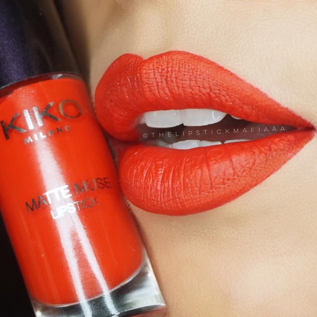 Kiko Milano Matte Muse Lipstick 04 Gaudy Red Matte Lips Red Nails Lipstick