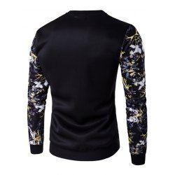 Rib Cuff Floral Sleeve Crew Neck Sweatshirt - Black - L - BLACK L