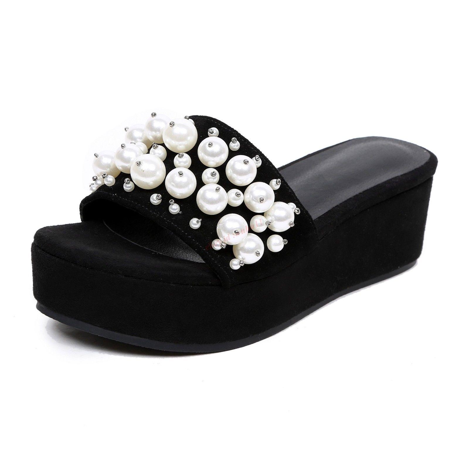 8f0063f5266c Womens Platform Glitter Beads Sandal Suede Open Toe Wedge Heel Black  Slippers