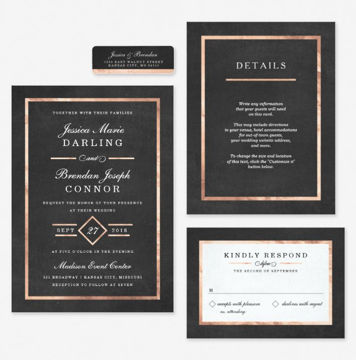 Modern Art Deco Gold Black Wedding Set Art Deco Wedding Invitations Deco Wedding Invitations Modern Art Deco Wedding