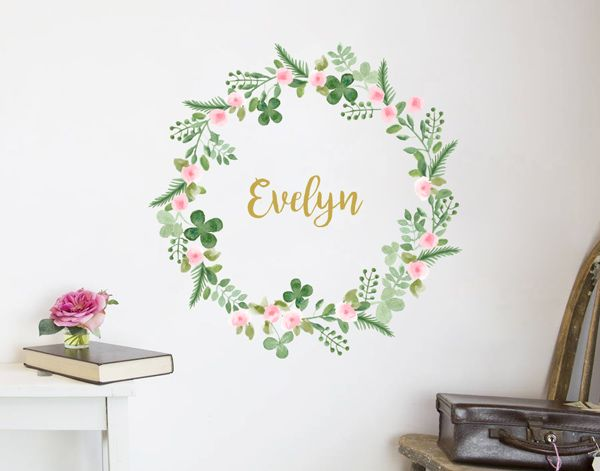 Flower Name Wreath Decal VI YOUR DECAL SHOP NZ Designer Wall