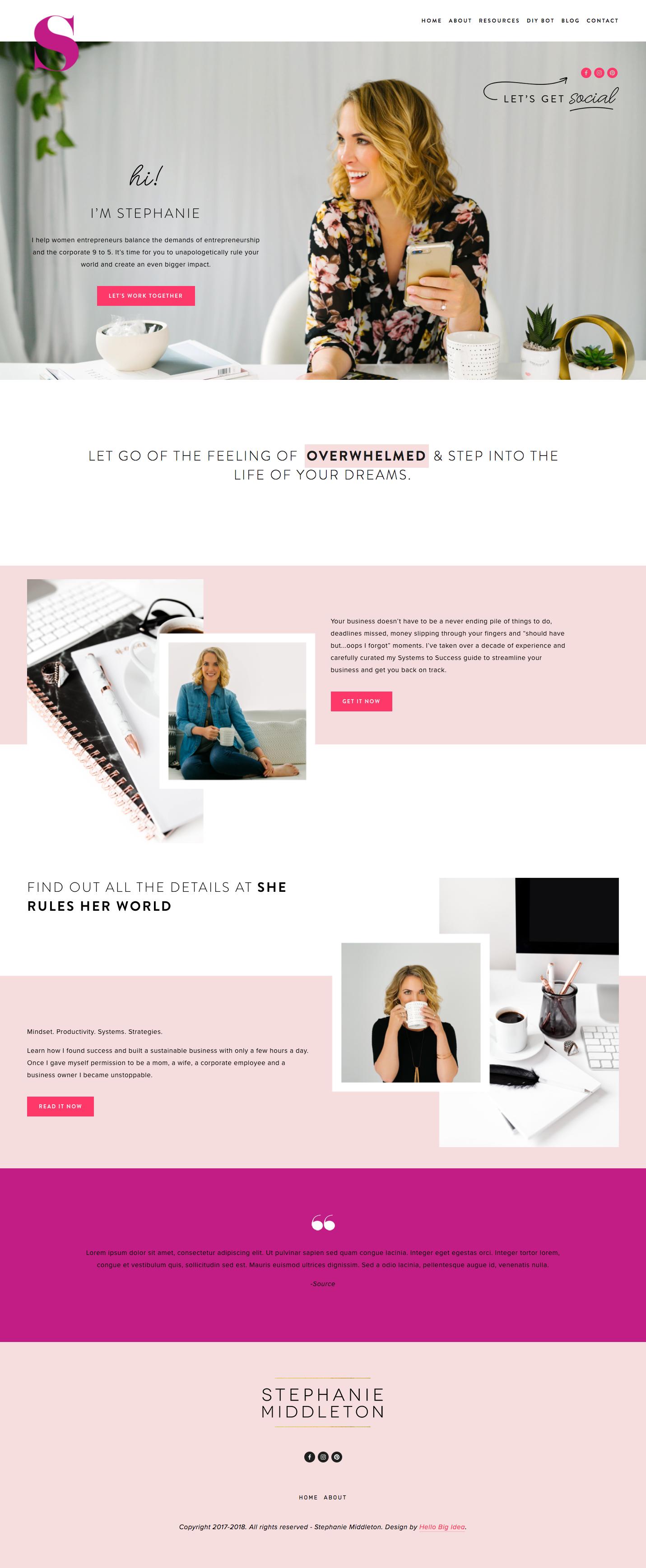 Stephanie Middleton Squarespace Website Design Website Layout Inspiration Portfolio Web Design
