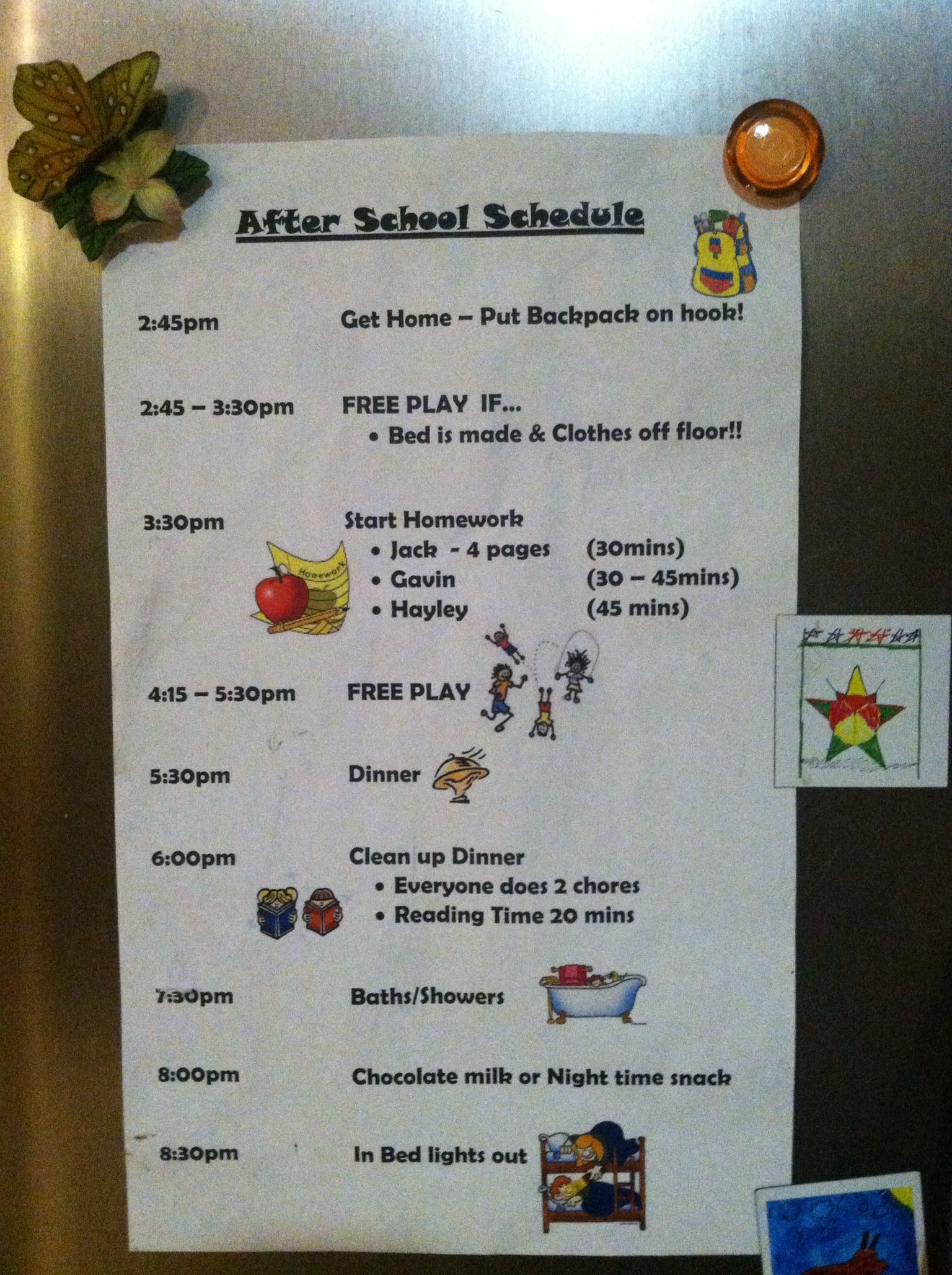 I need to make an after school schedule and probably a before ...
