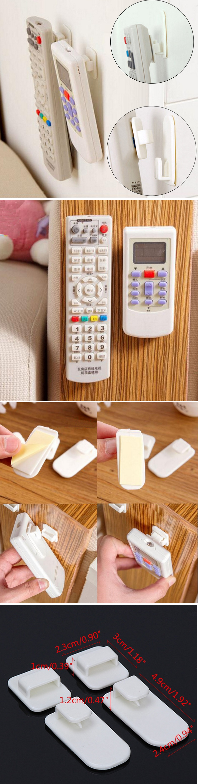 2 Set TV Remote Control Air Conditioning Sticky Hook Self ...