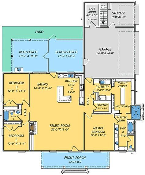 Plan 83876JW: Acadian House Plan with Safe Room | Acadian house ...