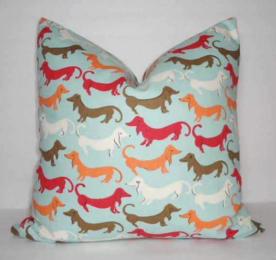 Blue Red Orange Brown Dachshund Hot Dog Pillow Decorative Pillow