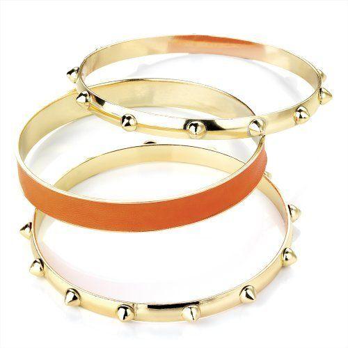 3 Piece Fashion Bangle Set Neon Orange & Gold