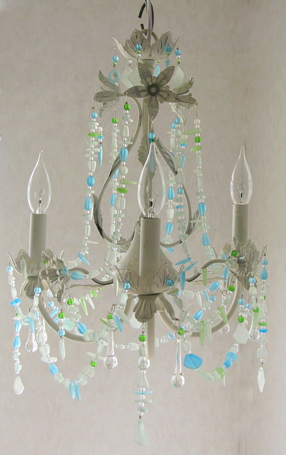 Sea Glass Lighting Fixture Chandelier Beach Cottage Shabby