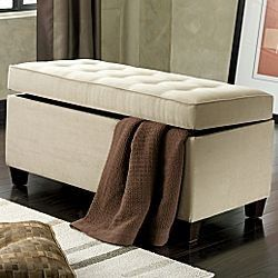 Ottoman Bench For End Of Bed Linen Storage Storage Bench Bedroom
