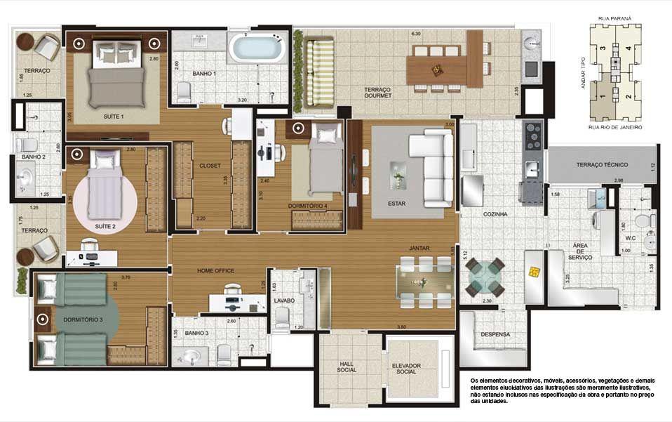 Apartamento Tipo - Planta 4 Dorms e 150m2 Clique para ampliar