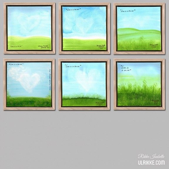"""""""Love is in the air"""" is a collection of six different, small paintings made one summerday along the Drammenselva riverside. They can be bought separately. It´s acrylic on canvas with a deep, wooden frame. Price pr. picture is 350,- NOK. Size is 24 x 24 x 3,4 cm. Contact me via ulrikke.com if you want to buy or know more. http://www.finn.no/finn/torget/annonse?finnkode=58220172"""