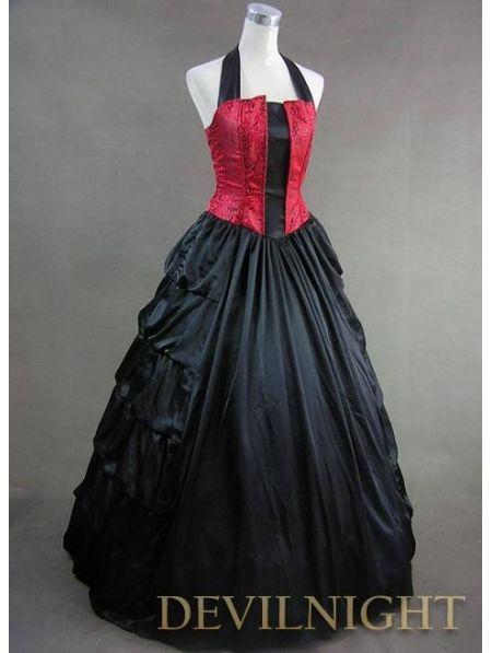 Elegant Red And Black Halter Gothic Victorian Dress Devilnight