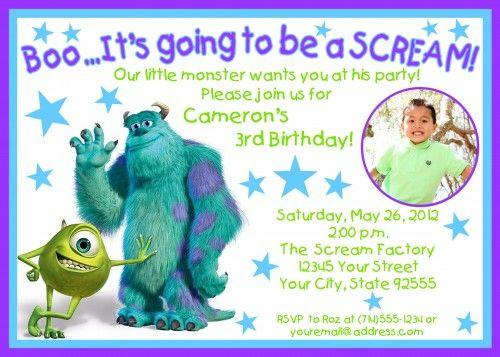 Monster Baby Shower Invitations Monsters Inc Photo Birthday