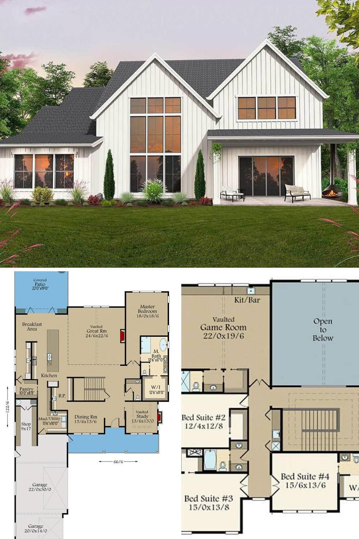 32++ Two story modern farmhouse plans best