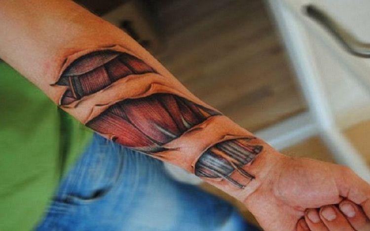 Biomechanik Tattoo Muskel Sehnen Unterarm Farbig Filipinotattoos