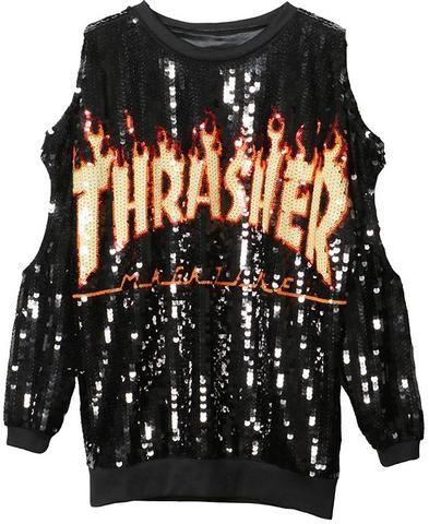 c995769618504  Thrasher  Sequin Embellished Cut-Out Sweatshirt-Black