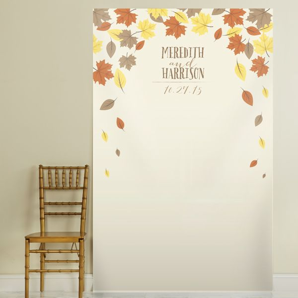 Set Up A Festive Photobooth At Your Fall Wedding Or Engagement Party With This Personalized Backdrop From Kate Aspen