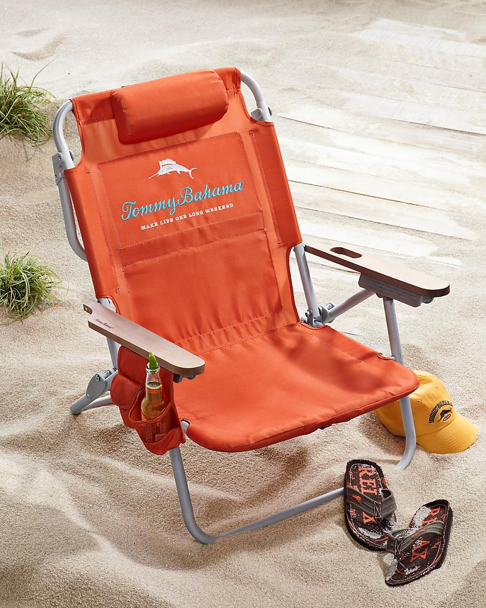 Orange Deluxe Backpack Beach Chair is perfect for use all