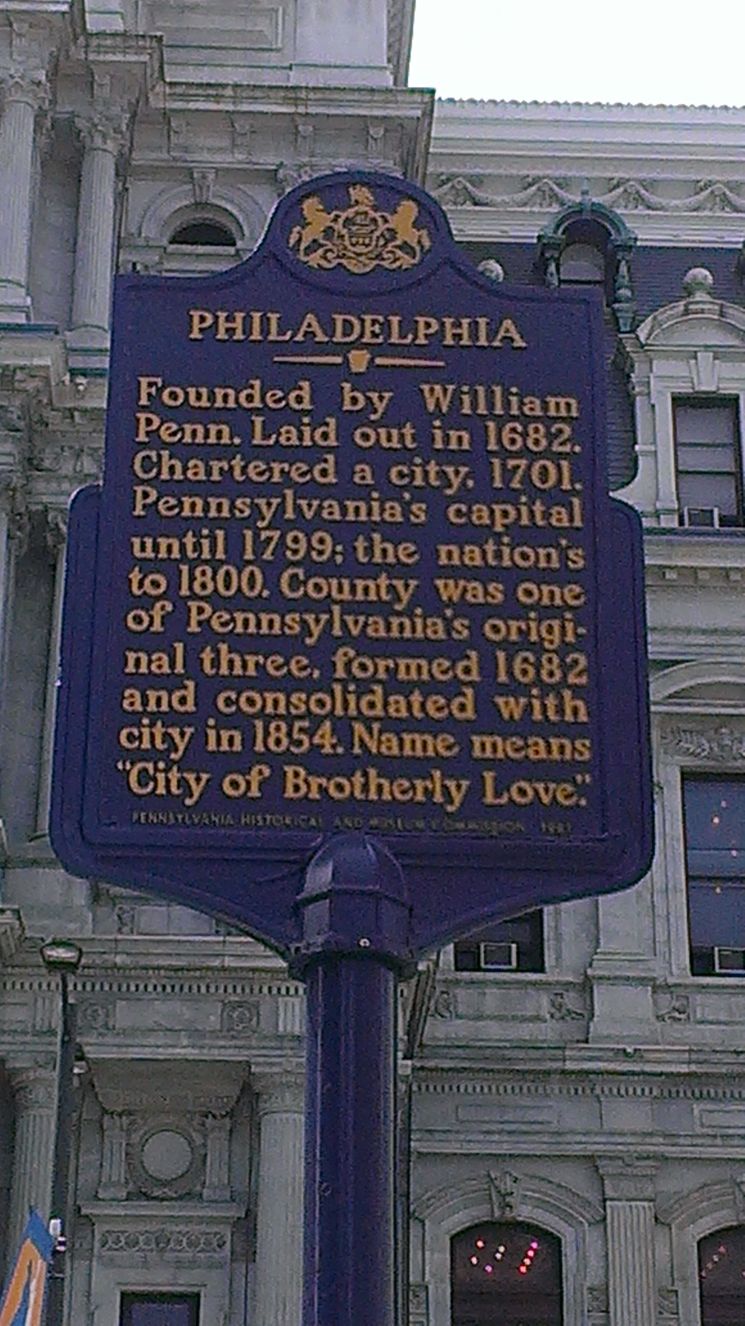 Philadelphia This Marker Is Located On The North Side Of City