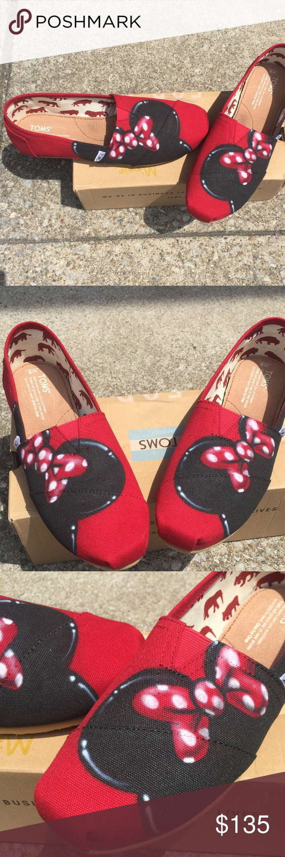 41e47e95c1d New Custom Airbrush Disney Minnie Mouse Toms Custom Airbrush Disney Toms.  Any size available. Allow 5 business days to ship. Toms Shoes Flats    Loafers