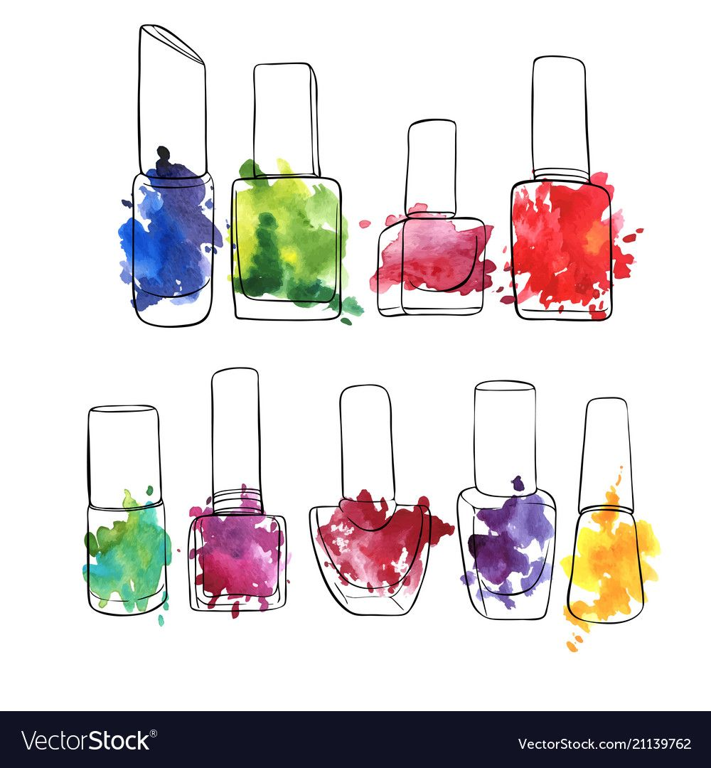 Bottles of nail polish vector image on Ногти, Инстаграм