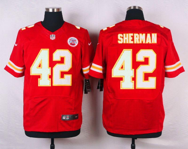 Wholesale NFL Customize Kansas City Chiefs 42 Sherman Red Men Nike Elite