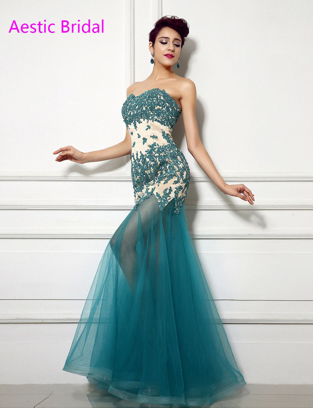 Click to buy ucuc turquoise blue mermaid sweetheart strapless tulle