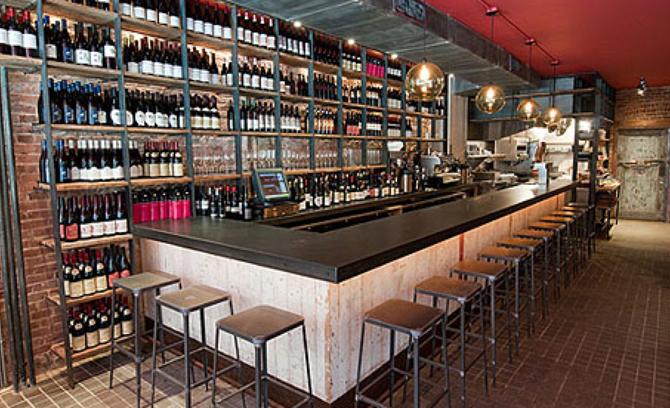 Metal Top Wooden Bar