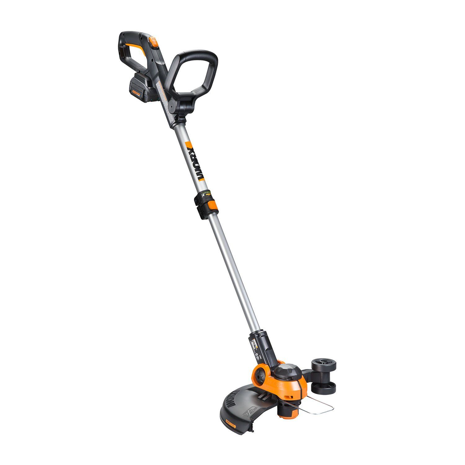 Worx Wg180 40 Volt Gt3 0 Trimmer With Battery And Charger Included Cordless Grass Trimer Orange And Black Trimmers Cordless Electric Leaf Blowers