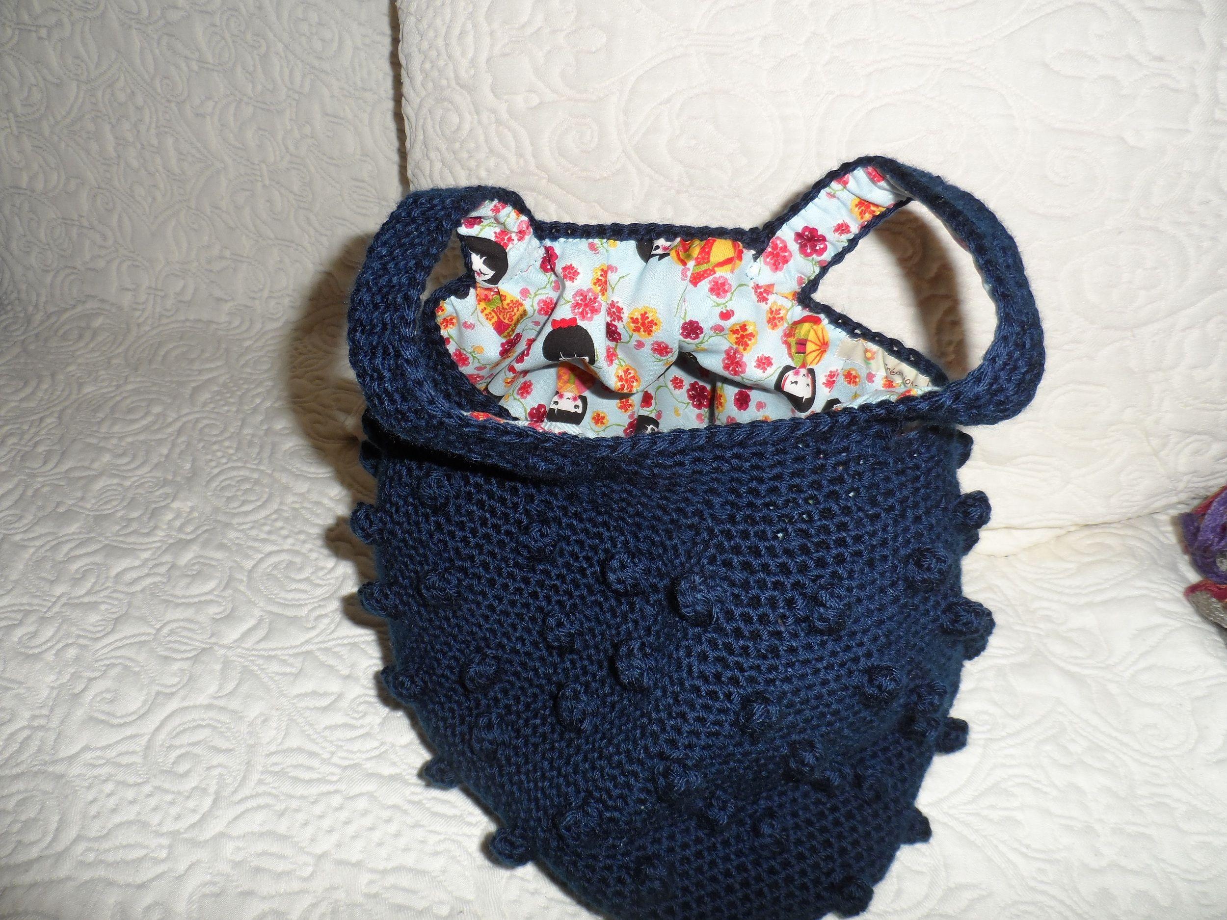 sac besace au crochet doublé en tissu coton imprimé