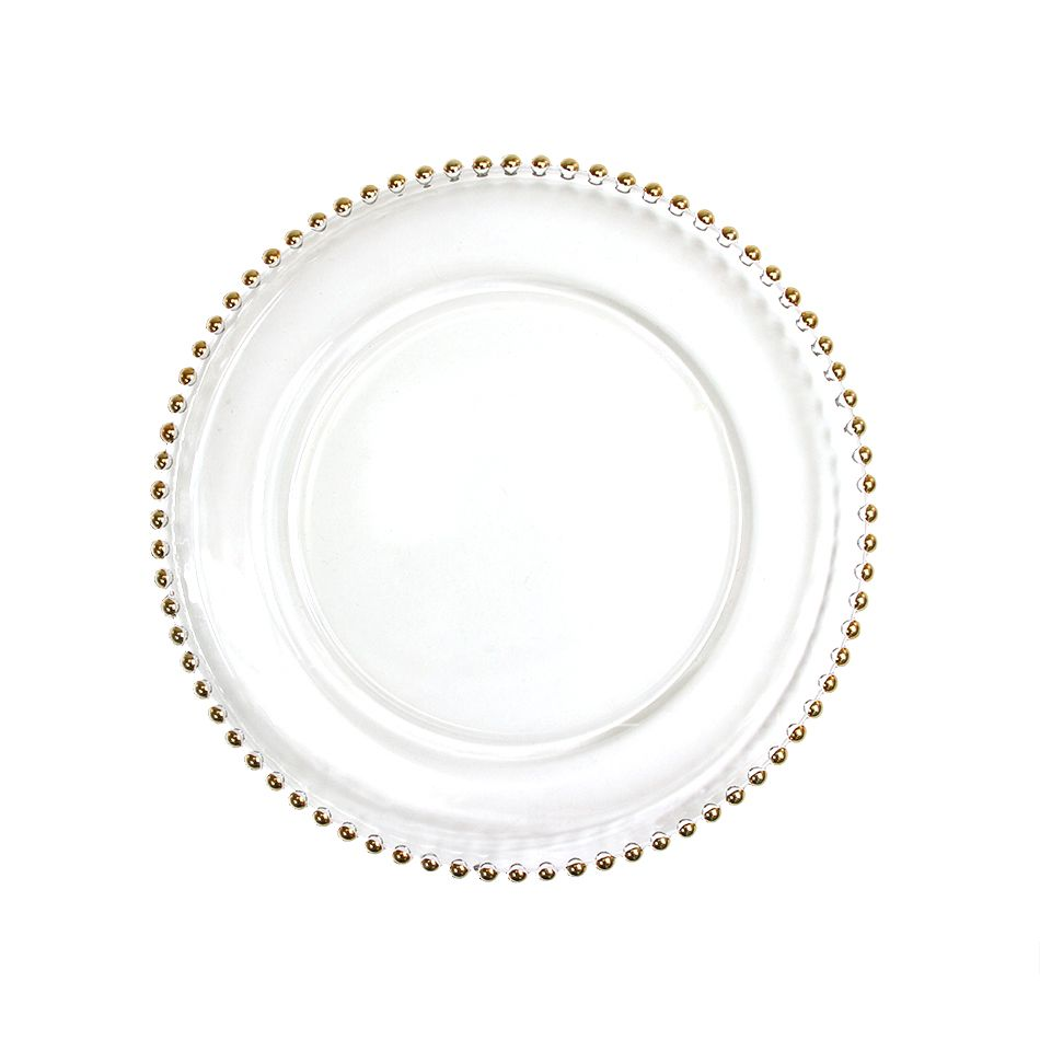 Clear Gl Gold Beaded Couture Charger Plate Whole Wedding Supplies Favors Party And Bulk Event