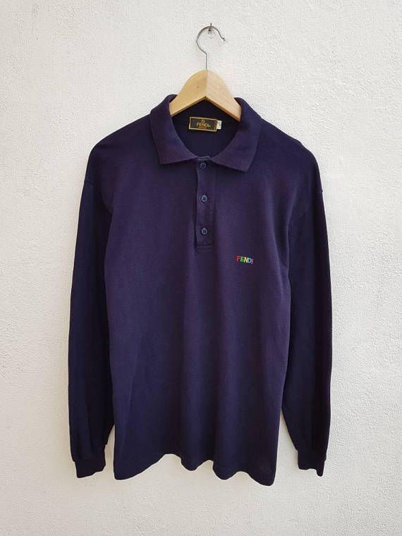 8ce28df9af7 Vintage 90s FENDI Uomo Casual Long Sleeve Polos Colorful Monogram Shirt Size  M