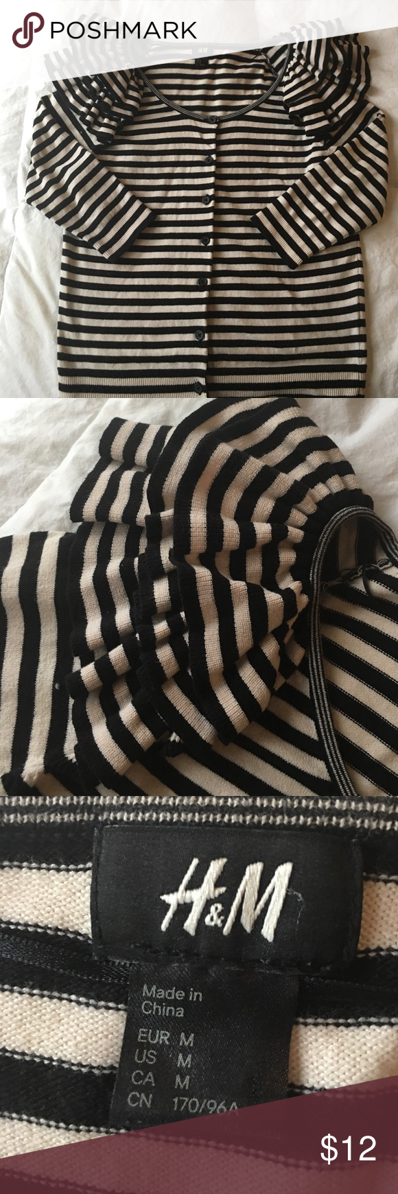 H&M stripped cardigan Black and cream colored stripped cardigan with ruffles at the shoulders. Three quarter length sleeves. Cute with boyfriend jeans and some flats. In excellent used condition. H&M Sweaters Cardigans