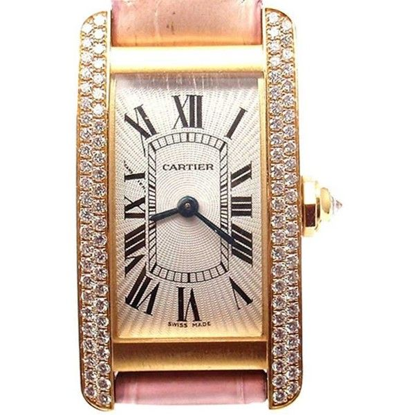 Pre-owned Cartier Tank Americaine 2482 18K Yellow Gold Diamond Watch (£8,080) ❤ liked on Polyvore