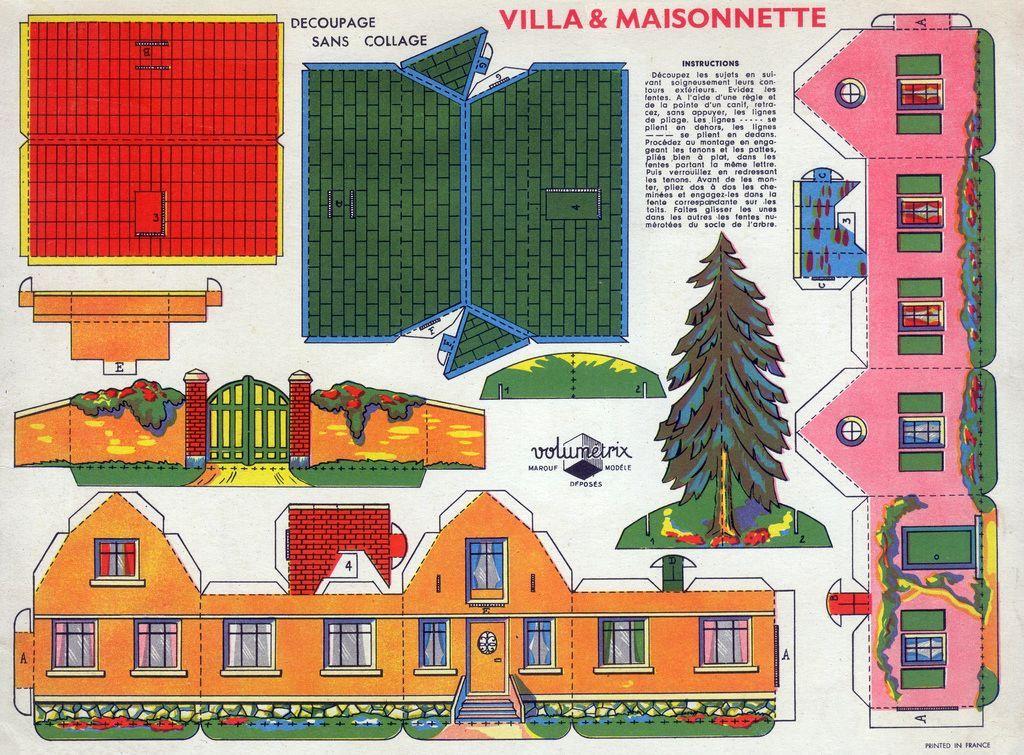 Villa et maisonnette d coupage sans collage d coupage papier maisons de papier - Maison papier a decouper ...