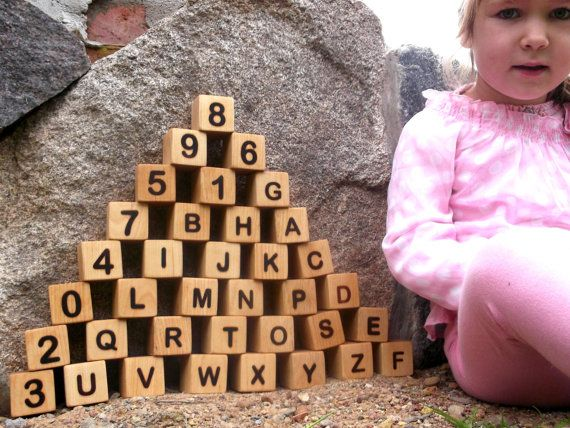36 Wooden blocks with letters and numbers wooden by DINDINTOYS, $49.00