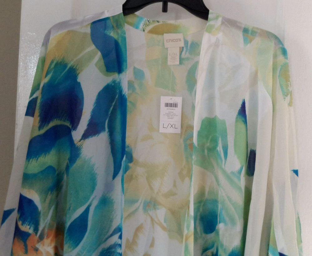 NWT Gorgeous CHICO'S Dynamic sheer floral Kimono Top in Aquas & White sz L/XL #Chicos #WrapKimono
