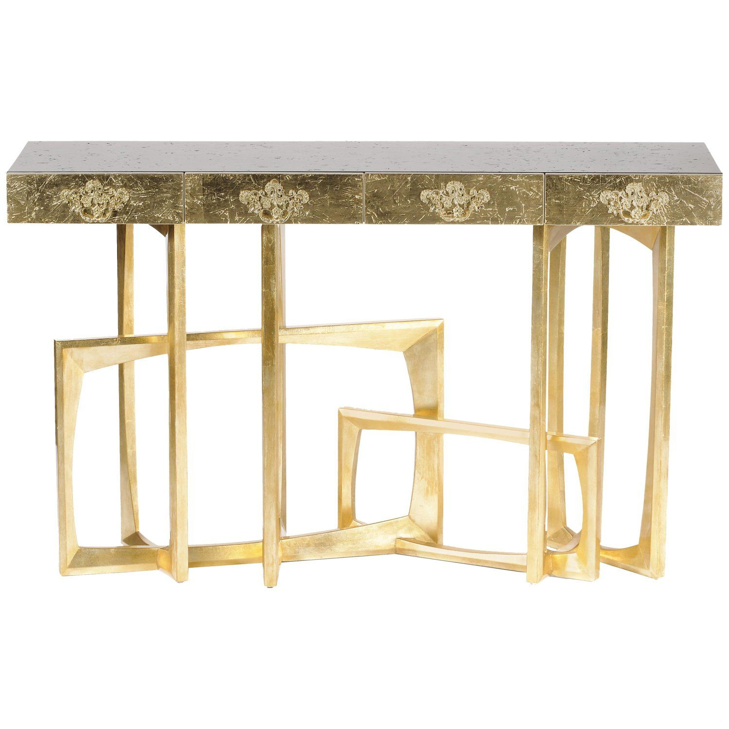 Metropolis console table with gold finish by boca do lobo in