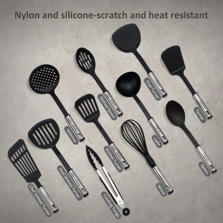12 Piece Cooking Stainless Steel Cooking Utensils Set Gadget Spoon Baking