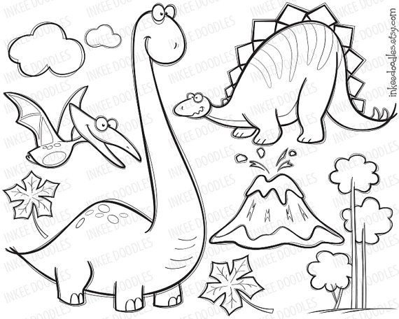 Items Similar To Dinosaur Clipart Digital Stamp Black Doodle Cute Pterodactyl Stegosaurus Brachiosaurus Tre Desenhos Infantis Para Pintar Patchwork Dinossauros