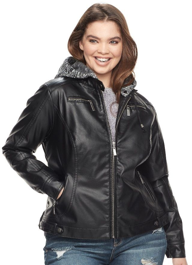 e25656fad12eb J-2 Juniors  Plus Size J-2 Removable Hood Faux-Leather Jacket ...
