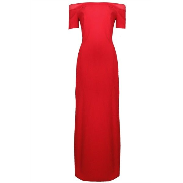 Grace MMXIII Cissy Long Dress (£362) ❤ liked on Polyvore featuring dresses, gowns, special occasion dresses, red evening dresses, fitted evening gowns, off the shoulder evening dresses and off the shoulder evening gown