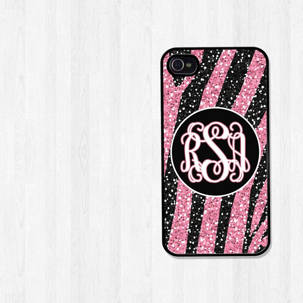 Personalized iPhone Case, iPhone 4, iPhone 5, Samsung Galaxy S3, Pink and Black Zebra Glitter Print Monogram, Mothers Day Gift (222). $16.00, via Etsy.
