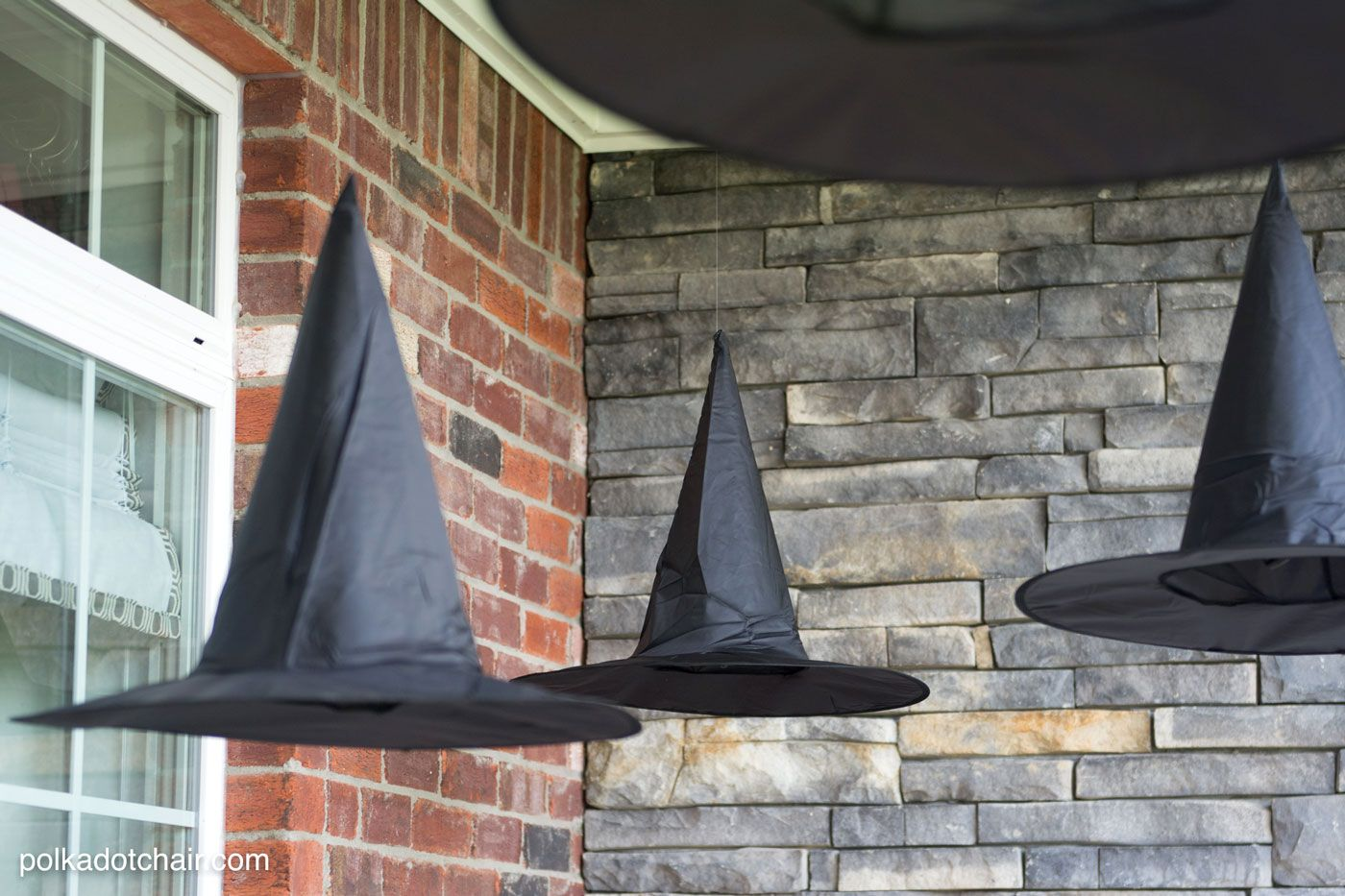Diy Floating Witch Hat Luminaries Polka Dot Chair Halloween Inspiration Halloween Porch Halloween Witch Decorations