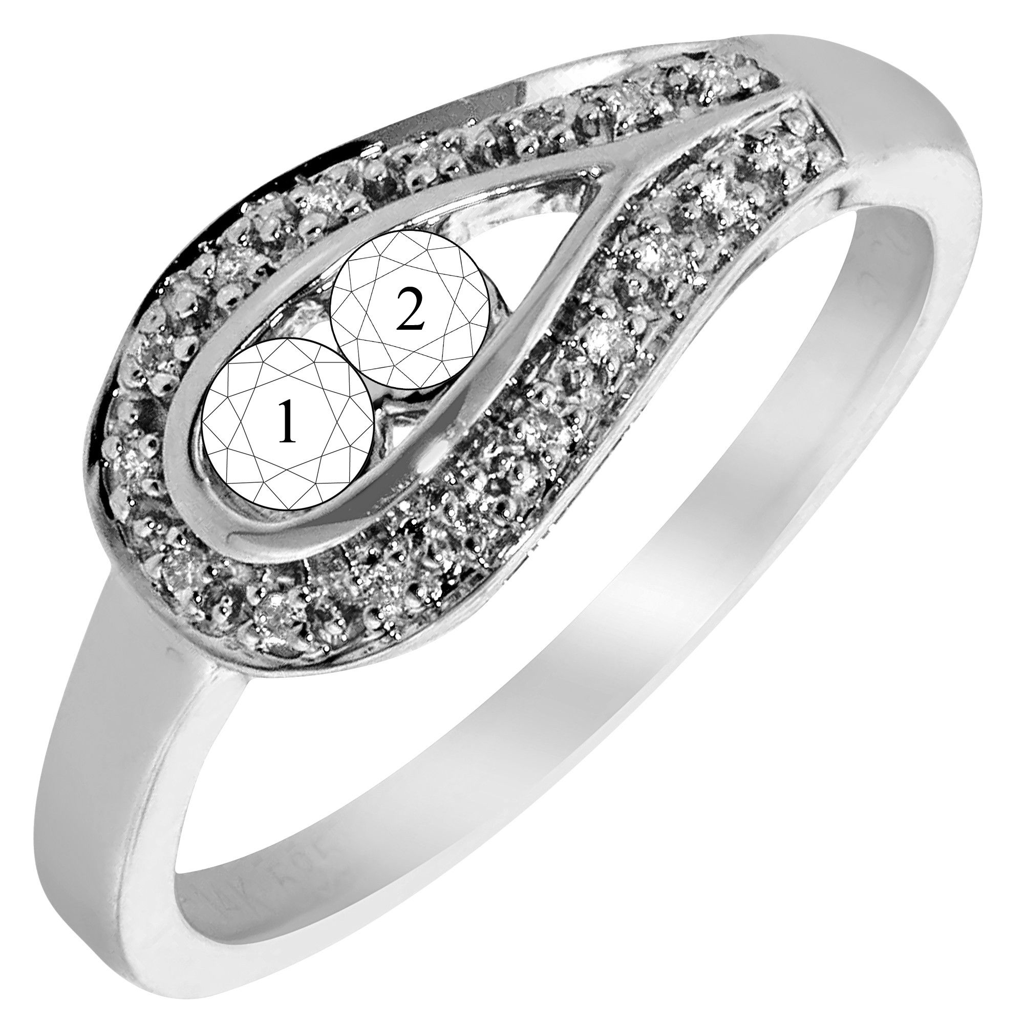 2-Stone Mothers Ring in 14kt White Gold with Diamonds (1 ...