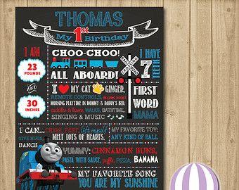 1st Birthday Thomas the Tank Engine Thomas the Train Chalkboard Birthday Sign Chalkboard Birthday Sign Birthday Sign Thomas and Friends