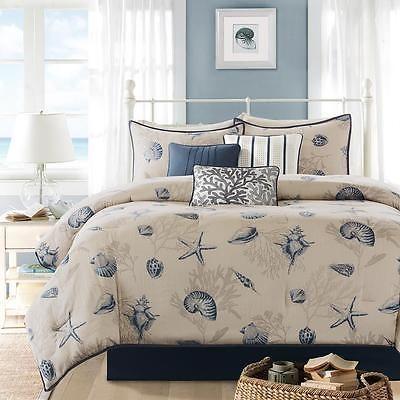 blue ivory taupe nautical seashell beach coastal comforter bedding set all sizes