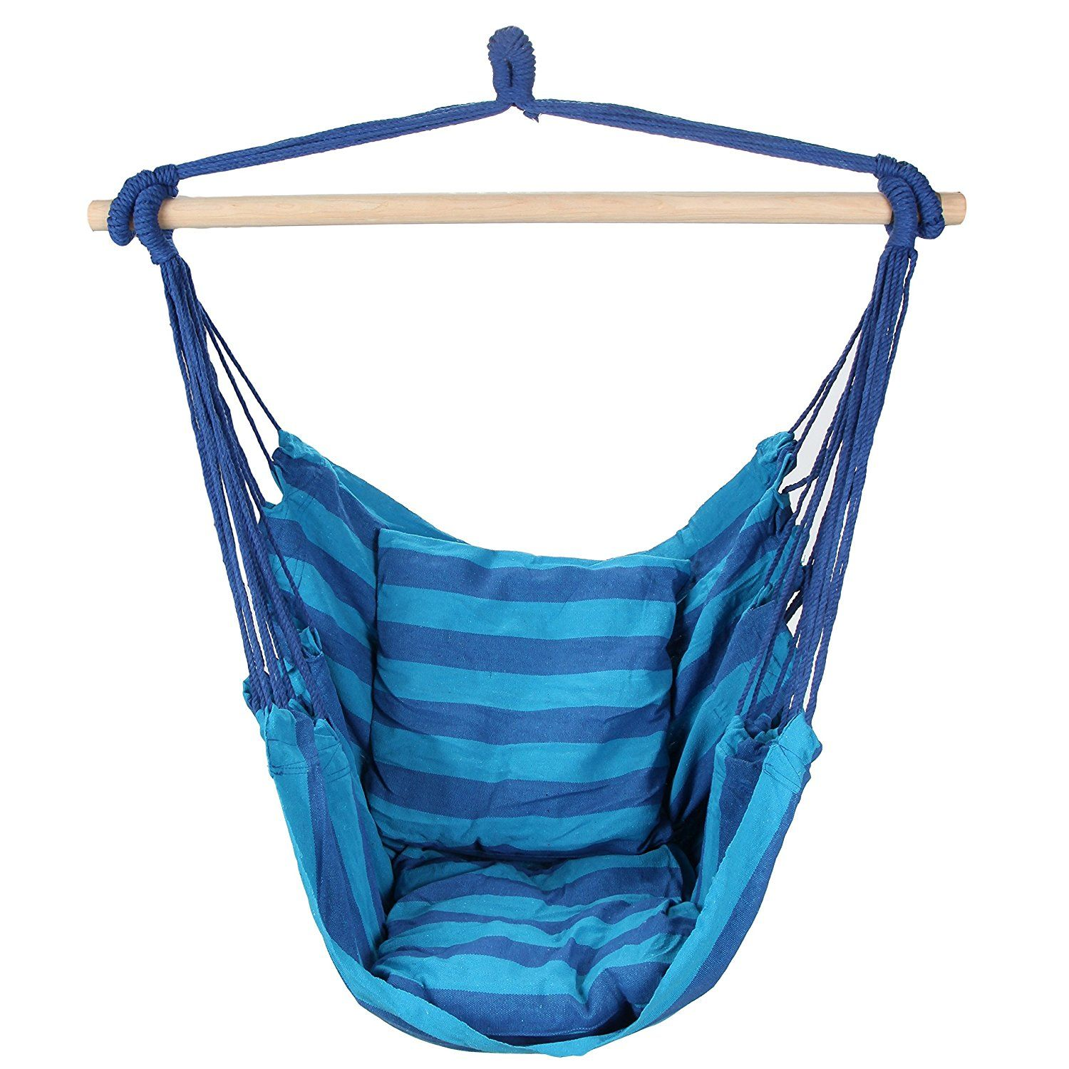 Amazon swing hanging hammock chair with two cushions blue