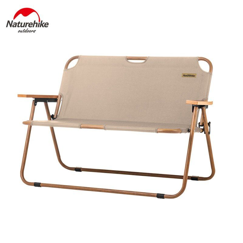 Naturehike Outdoor Leisure Double Folding Chair Portable Ultralight Camping Picnic Beach Chair 2 Person Wood Grain Na Camping Picnic Beach Chairs Folding Chair